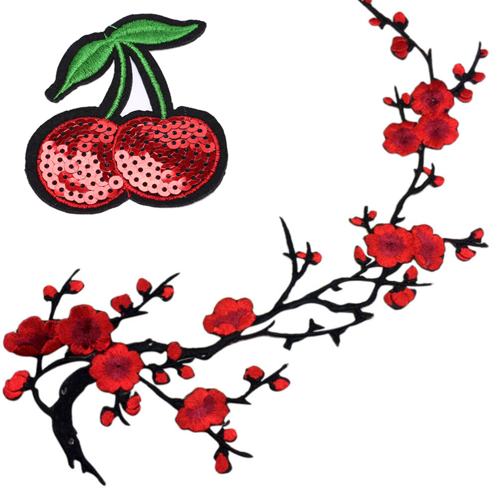Embroidered Plum Blossom Flower Applique Clothing Embroidery Patch Cherry Sequins Fabric Sticker Iron On Sew On Patch Craft