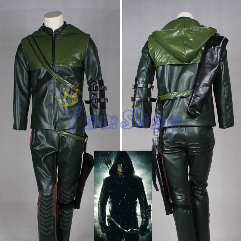 Green Arrow Oliver Queen Cosplay Uniform Suit Full Set Halloween Party Costumes Clothing Custom-made Free Shipping