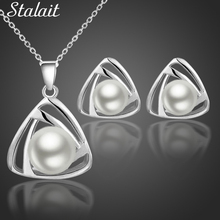 queen design new arrival Brand bridal women Gold Color women simulated Pearl pendant Necklace Earrings Jewelry sets 29073