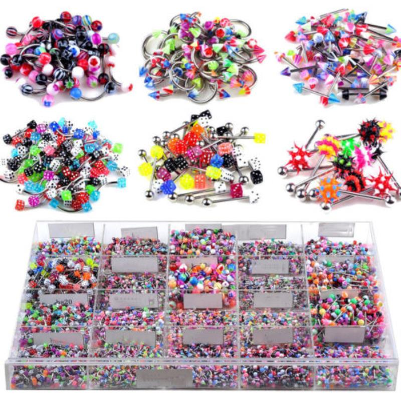 110Pcs Trendy Tongue Eyebrow Belly Nose Ring Wholesale Shellhard Mix Styles Stainless Steel Body Piercing Jewellery Femme Bijoux