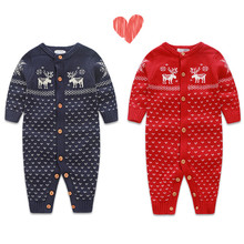 Infant Romper Kids Jumpsuit Winter Newborn Baby Boys Girls Warm Romper Knitted Sweater Children's Clothse Outwear(China)