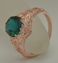 custom unique luxury royal jewelry rose gold delicate engraved designs created Emerald queen temperament 925 silver ring