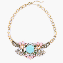 New Design Stone Setting Chunky Costume Necklace Multicolor Clear Female Statement Jewelry