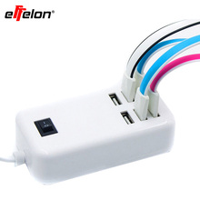 Effelon 6-Ports 30W USB Wall Charger with on/off Power Switch +1.5M Cable Cord US/EU Plugs for iPhone/iPad/HTC/Samsung