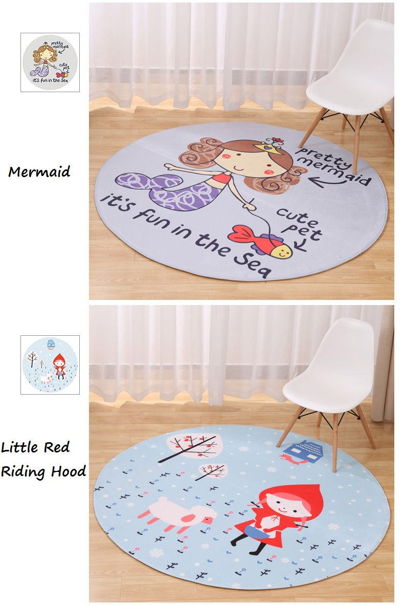 New Lovely Animal Round Carpet Diameter 60/80/100/120CM Super Soft Coral  Fleece Living Room Carpet Children Kids Bedroom Mat Rug - us94