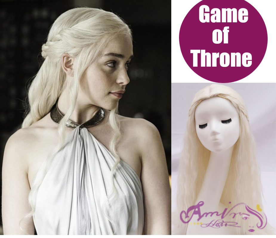 Game of Thrones Daenerys Inspired Hair Cosplay Hair wigs blonde ,Silver for you choose cosplay wig New Arrival free shipping<br><br>Aliexpress