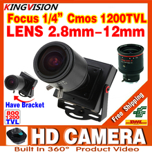 New Product Mini Manual focusing 2.8m-12mm 1200TVL Djustable Lens Color Video HD CCTV Security Surveillance Zoom Camera Metal(China)