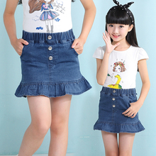 2017 Kids Children Spring Summer Denim A-Line Skirt Girls Casual Short Skirt mini Party Jeans Skirts For 3-8Y Girls Children(China)