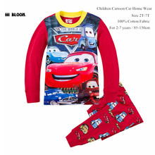 Cotton Spring Cartoon Car Clothing Set Long Sleeve Sleepwear Pajamas Boy Sports Suit Red Tracksuit Kids Clothes