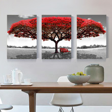 Red Tree High Quality Best Selling Tree Home Wall Huge Decoration Modern Abstract Oil Painting on Canvas Art No Frame(China)
