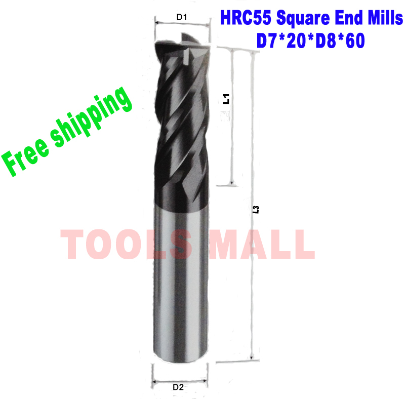 Free Shipping-5pcs 7mm Tungsten Carbide Square End mills HRC55 4Flutes Milling cutters CNC Spiral Router bits CNC tools<br><br>Aliexpress