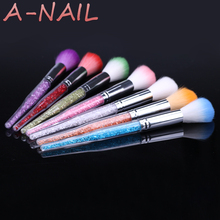 6Colors 1PCS Nail Art Glitter Brush Dust Clean Acrylic UV Gel Powder Remover Rhinestone Handle Nylon Makeup Foundation Manicure(China)