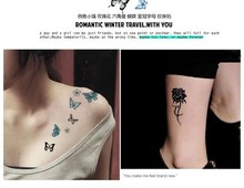 free shipping simulation Men and women Kitten, roses, hexagonal star, butterfly, crown waterproof tattoo stickers Temporary(China)