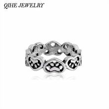 QIHE JEWELRY Paw-filled Heart Stamped Hearts & Paws Ring Stackable Animal Pet Cat Dog Ring Jewelry Fashion Women Gifts