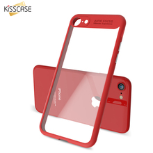 KISSCASE Ultra Thin Soft TPU Frame Clear Case For iPhone 6 7 Plus Transparent Hard Plastic Back Cover For iPhone 7 6 6S Plus(China)