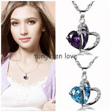 Fashion 925 Sterling Silver Heart Necklace Crystal Pendant Necklaces With Silver Chain For Women Ladies Gifts Multicolor colares