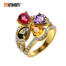 MINHIN Luxury Finger Ring For Women Charming Multicolor Cubic Zircon Ladies Wedding Jewelry Gold Silver Engagement Rings