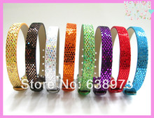 Hot selling 8*210mm Mixed Color Sequin PU Leather Wristband Fit 8mm Slide Charms
