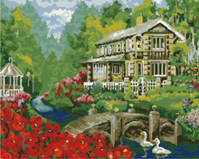 drawing picture Landscape paint on canvas diy digital oil painting by numbers Ducks swim home decoration 40*50cm