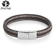 Buy Jiayiqi Vintage Men Jewelry Punk Braided Geunine Leather Bracelet Stainless Steel Magnetic Buckle Fashion Bangles Black/Brown for $4.98 in AliExpress store