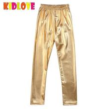 KIDLOVE Girl Leggings Elastic Pants Skinny Gold Metal Colors Sequined Waterproof Windproof Stain-proof Ninth Pants Trousers ZK30(China)