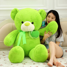 huge plush apple teddy bear toy stuffed big green bear doll pillow about 135cm