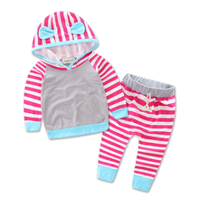 Newborn babys Zebra striped leisure suit kids infant baby girls clothes hooded t-shirt top + pants 2pcs set boy outfit dress(China)