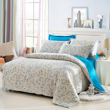 Shabby Chic Bedding Set Queen Size Flowered and Plaid Duvet Cover Solid Color Blue/Green/Pink Bed Sheets Pillowcase Bedroom Set