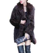 K203-Ladies fashion outerwear  with long big raccoon collar .autumn winter black brown genuine mink  fur knitted coat
