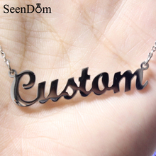 Custom Any Name Necklace Personalized Stainless Steel With Gold Color Customized Nameplate Pendant Choker Necklace (Never Fade)(China)