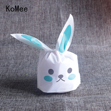100pcs/lot Cute Rabbit Ear Biscuit Bag Moisture Proof Plastic Candy Box Cookie Bags Food Cake Gift Packaging Bag Wedding Supply