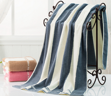 Blue Vertical stripes 1pcs/Set 100% Cotton Bath Beach Face Towel Sets for Adults Fiber Gift Bathroom Baby Towels soft towel