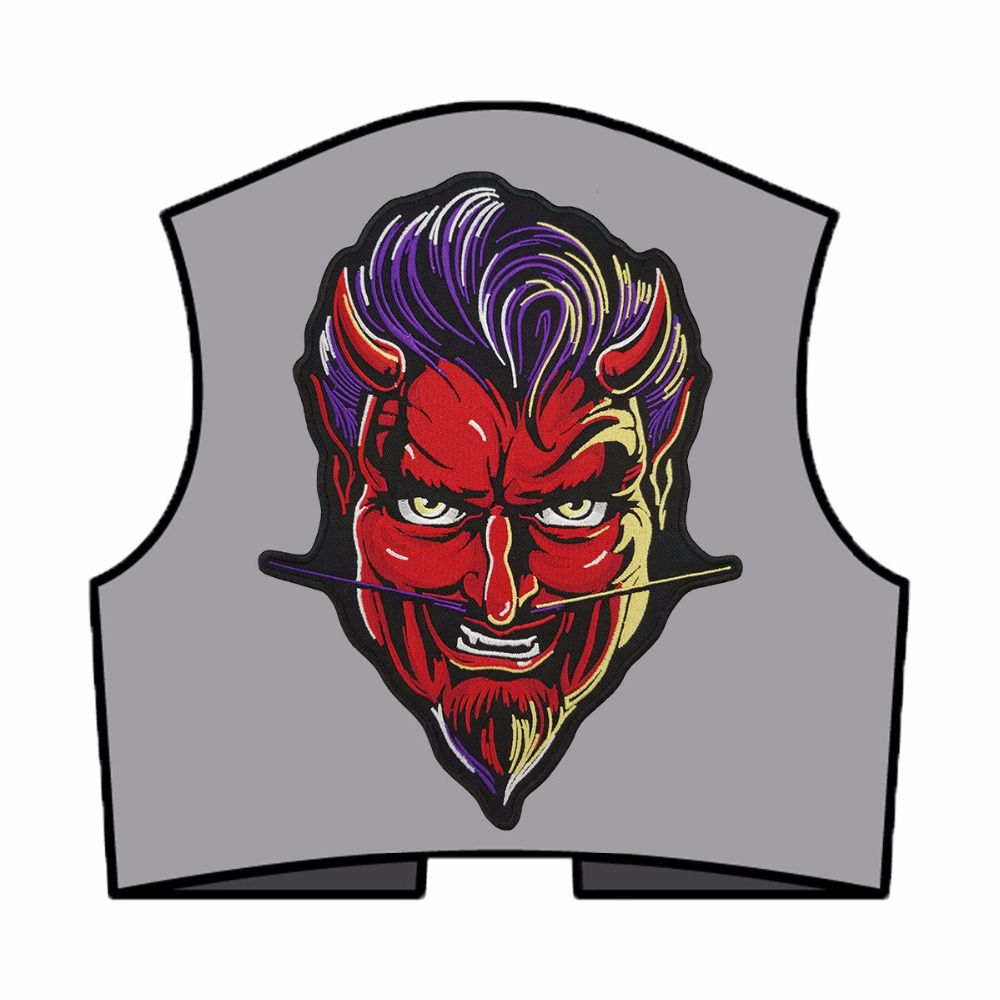 RED DEVIL PATCH vest back motorcycle patch embroidery iron-on cool jacket biker mini patches (5)