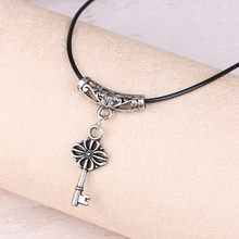 Charm Personalized Brand imitation Silver Color Luxury Chain Key Pendant Necklace Black Rope Chain X362