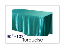 "Free shipping rectangle tablecloth size 90""*132"" color  turquoise  for wedding decoration /satin table cloth"
