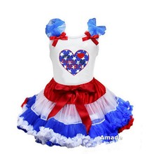 Girl Father's Day My Hero My Daddy Pettitop TankTop with Red White Blue Pettiskirt 2 pcs set Party Dress 1-7Y