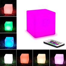 Waterproof LED Orb Light Floating LED Cube Lights, RGBW Color Changing Night Cube Table Lamp Pool Light with RC