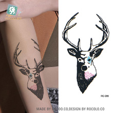 RC-066/Latest 2016 Disposable Waterproof Fake Tattoo on Arm Leg Body Temporary Tattoos Sticker Cerf Cute Animal Tatoo