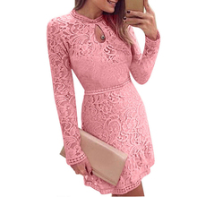 Buy Hirigin Womens ladies fashion pink lace flower long sleeve dress Casual Sexy Tops Ladies Top Lace sexy dress women female for $5.87 in AliExpress store