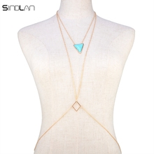 New Fashion Bikini Party Beach Body Jewelry Bohemian Blue Triangle Resin Pendant Necklace Hollow Geometric Body Chain For Women