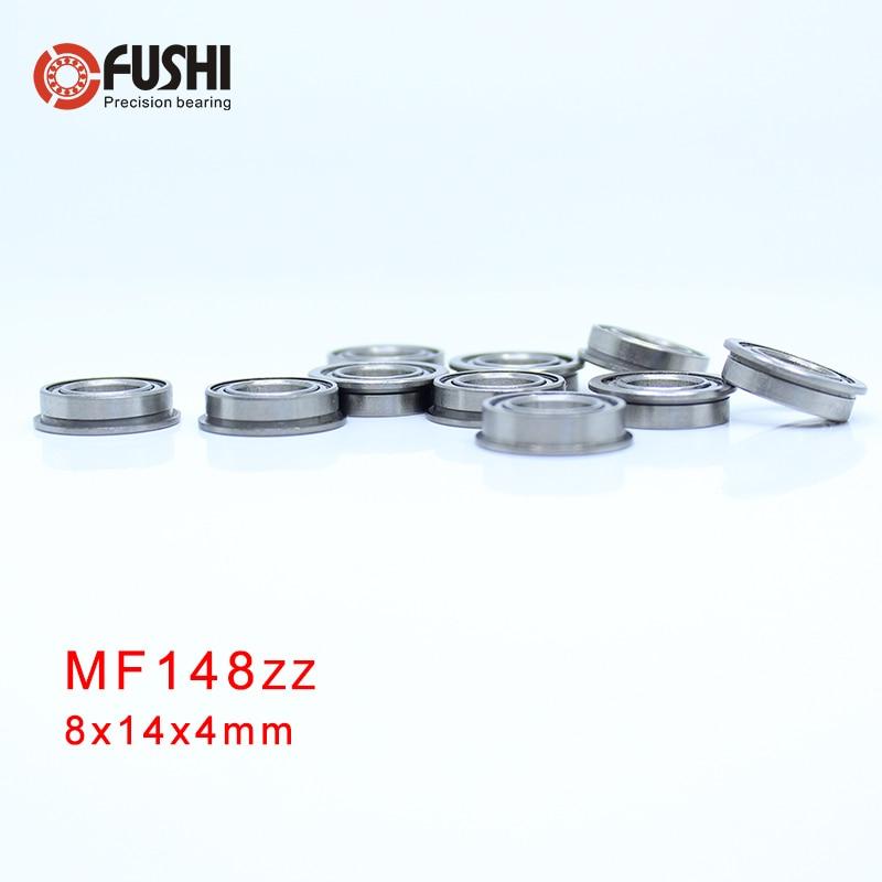 Metal Flanged Rubber Sealed Ball Bearing 10 PCS 8x14x4 mm MF148-2RS Black