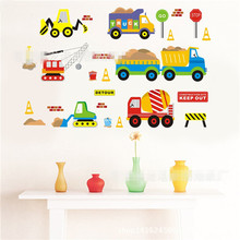PVC 3D Wallpaper Cartoon Car Wall Stickers For Kids Children Boy Rooms TV Setting Home Decor Art Wall Decals Decoration GI880680