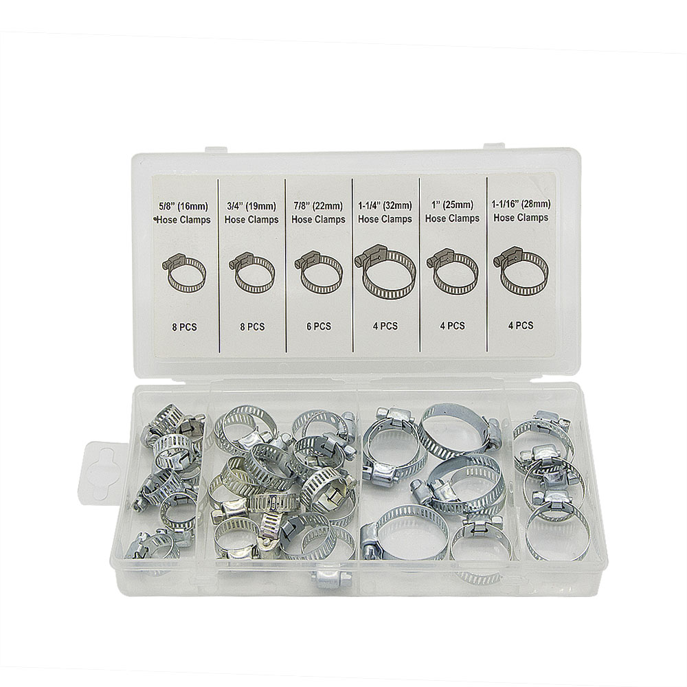 34pcs Stainless Steel 16 19 22 25 28 32mm Jubilee Fuel Hose Clamps Pipe Clamps Air Water Assortment<br><br>Aliexpress