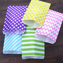 "25pcs 6.2"" x 9"" big large Pink chevron Flower Craft Paper Popcorn Bags Party Treat Favor Paper Bag Paper Bag for Gifts and Candy(China)"