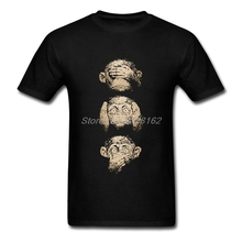 2017 Cotton Teenage Country T-Shirt Men Wise Monkeys Good Harajuku tshirt Blouses Team Make Your Own Shirt(China)