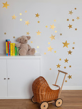 150pcs in 3 size Nursery Gold Star Wall Decal Vinyl Sticker for room decor,kids room gold starry ceiling,free ship/m2s1(China)