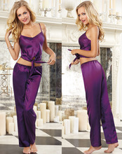 Sexy Lingerie Women's Sleepwear Charmeuse Bias Cut Camisole Good Quality Nightwear Pajamas Set(China)