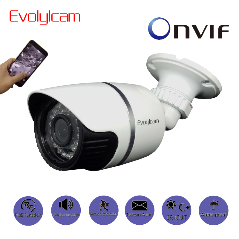 Evolylcam POE Audio Onvif P2P HD 720P 1MP/ 960P 1.3MP/ 1080P 2MP IP Camera Network Alarm CCTV Camera Outdoor Security IR Bullet <br>