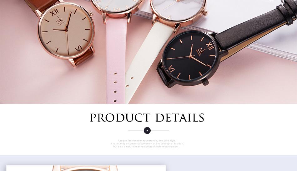 ساعة نسائية حزام جلد أنثى كوارتز الوان جميلة 15