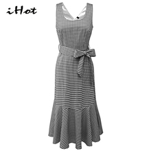 IHOT Plaid dress Women summer sleeveless tartan printed Vintage 1920s Bowknot party casual Mermaid dresses 3xl plus size vestido(China)
